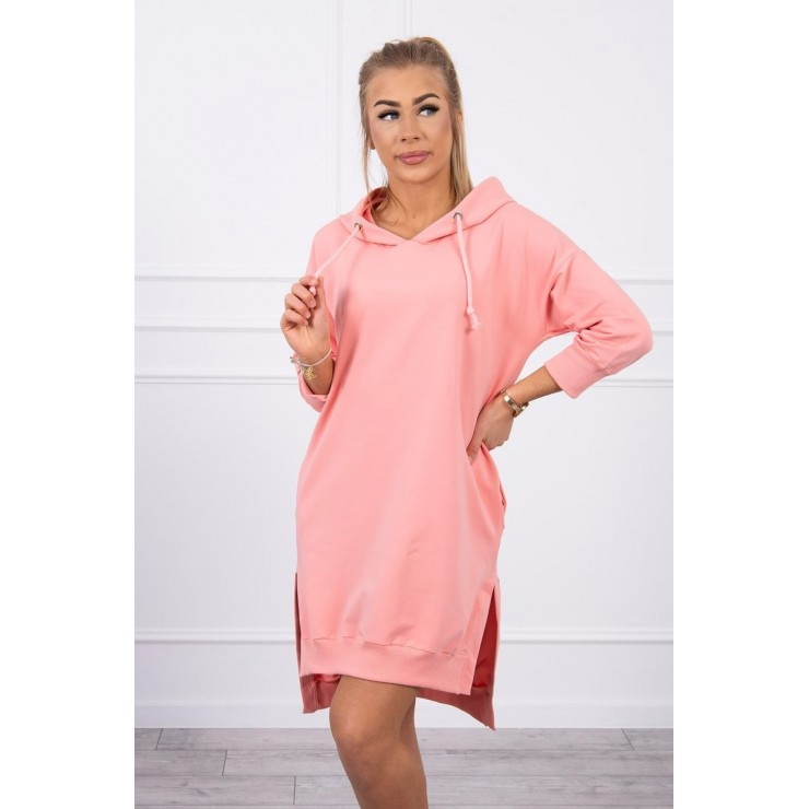 Dress with extended back and with e hood MI9078 apricot