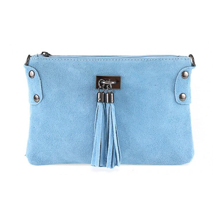 Genuine Leather Handbag 812 light blue