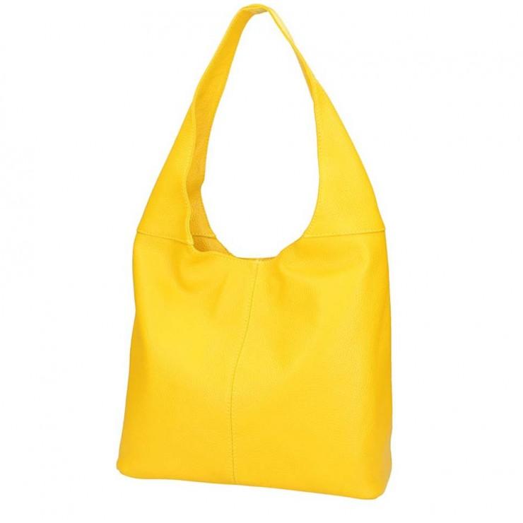 Žlutá kožená kabelka na rameno 590