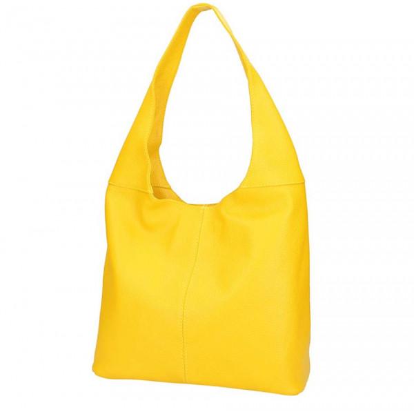 Žltá kožená kabelka na rameno 590