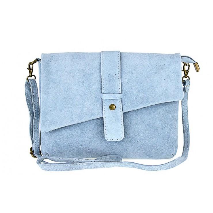 Genuine Leather Handbag 442 light blue