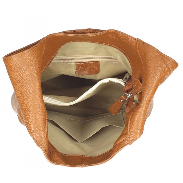 Žltá kožená kabelka na rameno 590 MADE IN ITALY Žltá