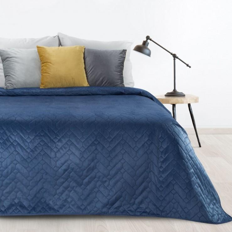Velvet bedspread Luiz dark blue