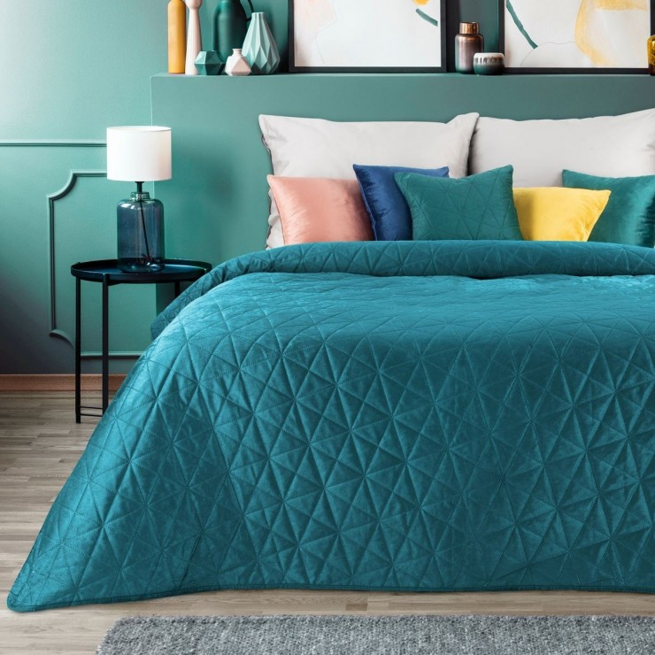 Velvet bedspread Luiz3 dark turquoise