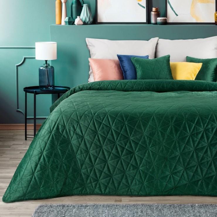 Velvet bedspread Luiz3 dark green