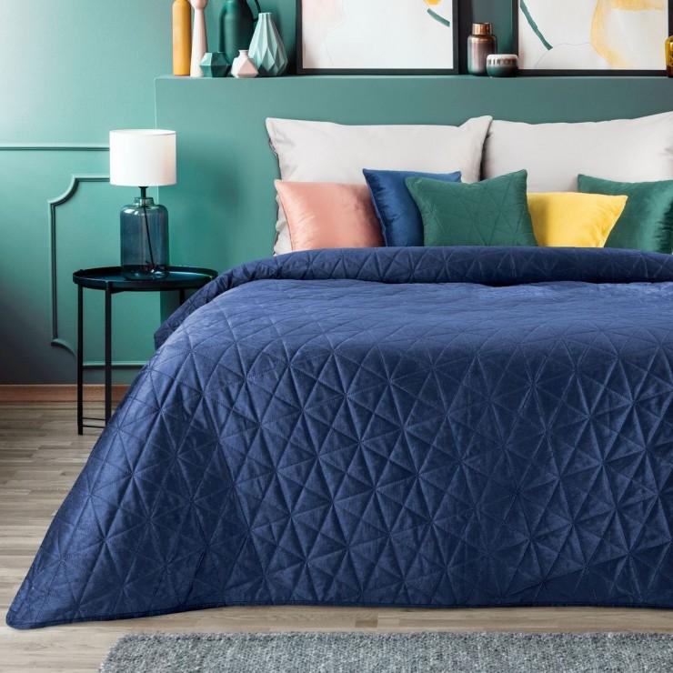 Sametový přehoz na postel Luiz3 tmavě modrý