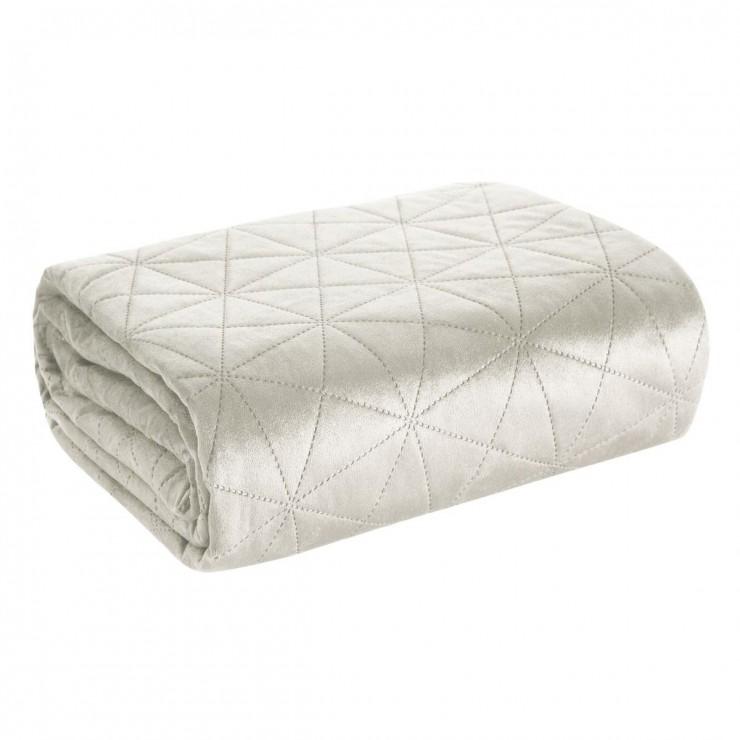 Sametový přehoz na postel Luiz3 stříbrný