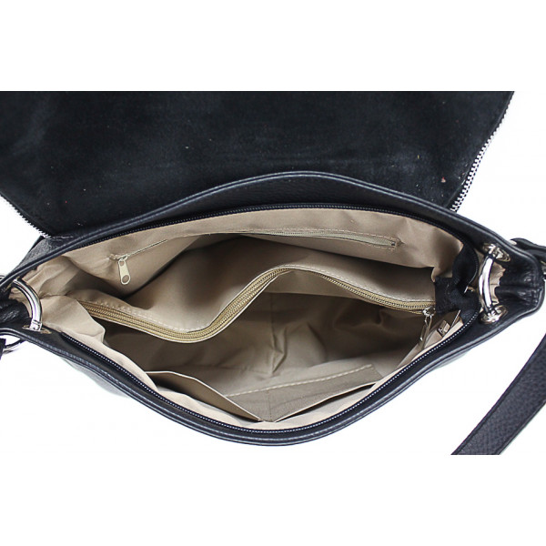 Kožená kabelka na rameno 411 modrá Made in Italy