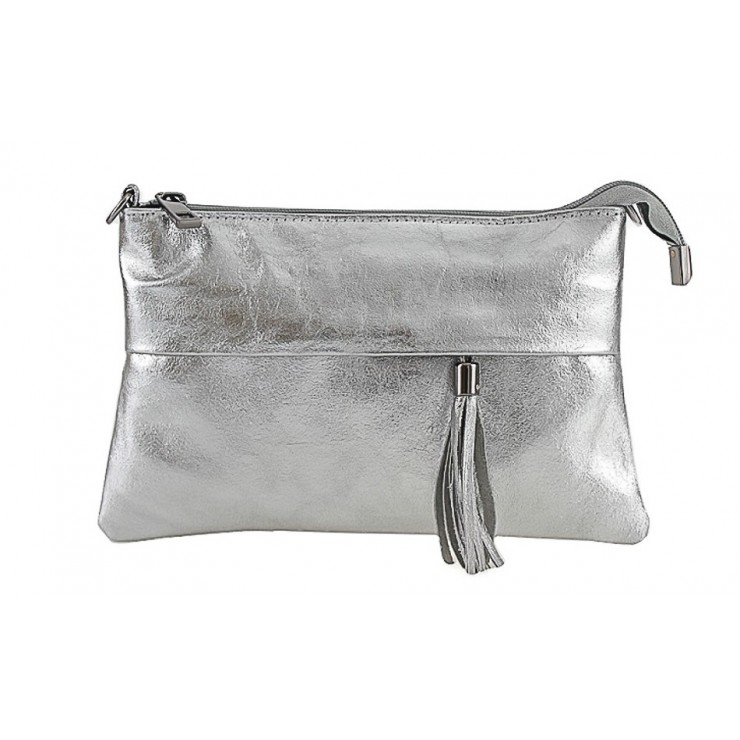 Genuine Leather Handbag 1423A silver
