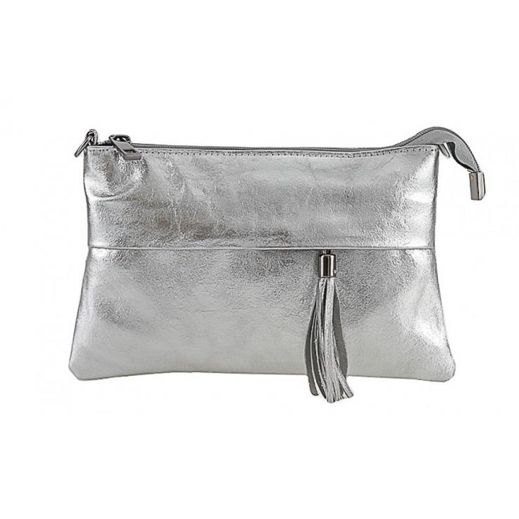 Kožená kabelka 1423A strieborná Made in Italy