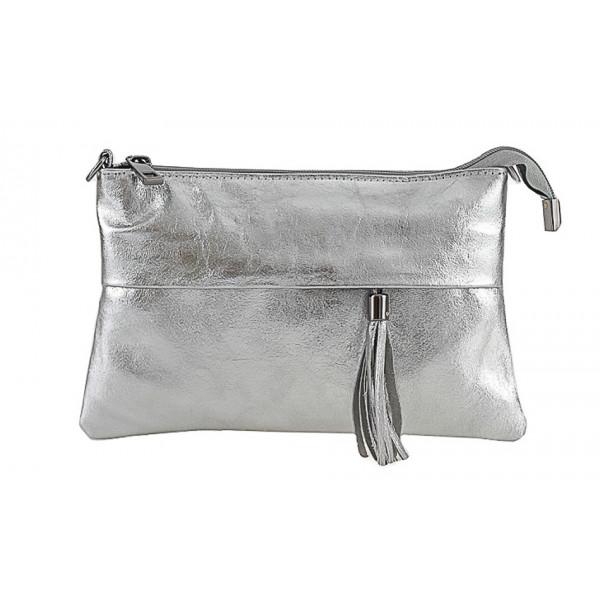 Genuine Leather Handbag 1423A silver