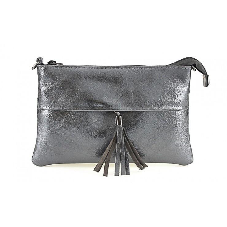 Kožená kabelka 1423A šedá metalíza