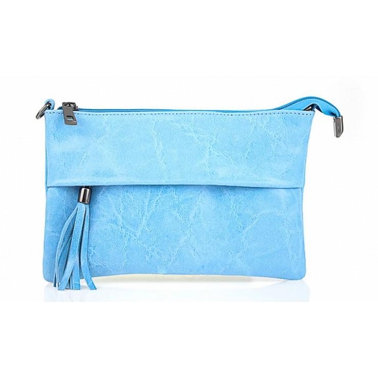 Genuine Leather Handbag 1423A light blue