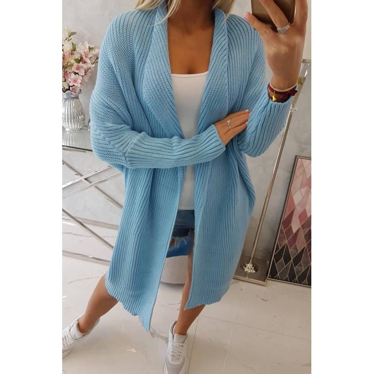 Dámsky sveter s rukávmi typ netopiera MI2019-13 modrý