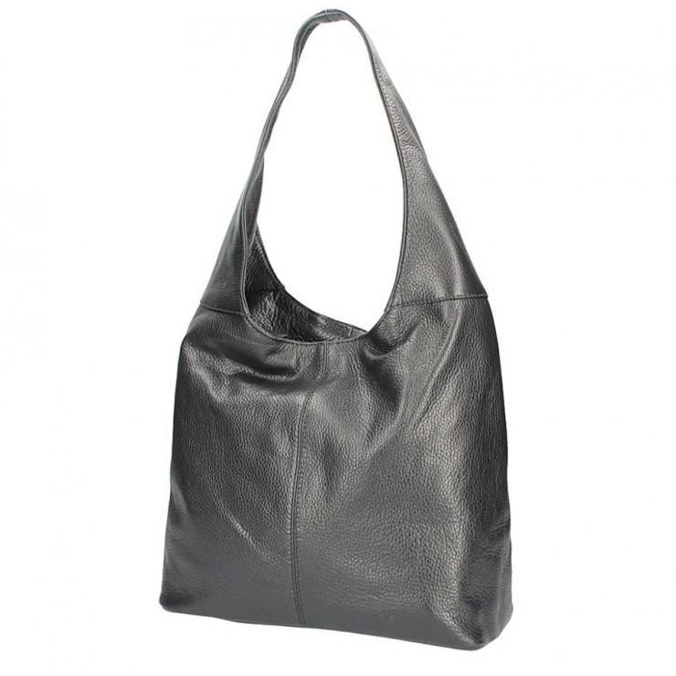 Čierna kožená kabelka na rameno 590