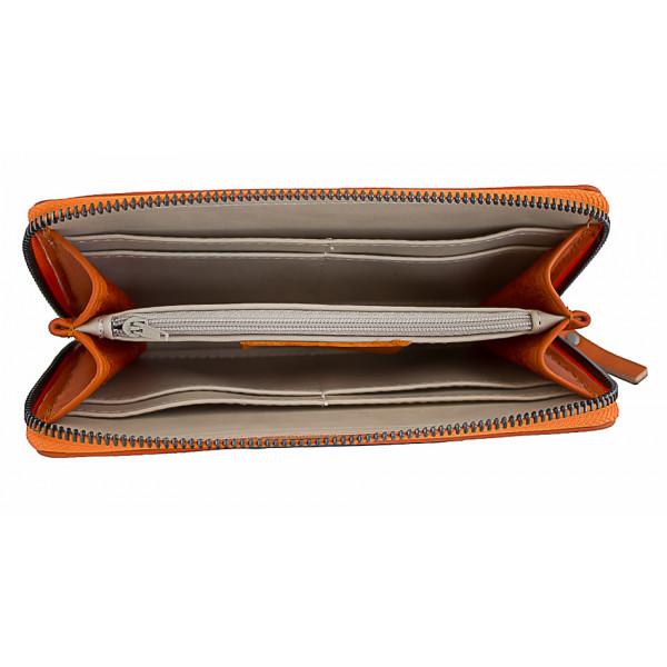 Kožená peňaženka na zips 595A šedohnedá Šedohnedá