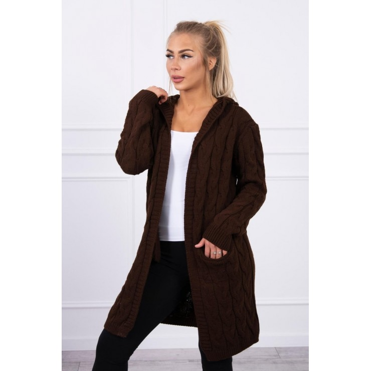 Dámsky sveter s kapucňou a vreckami MI2019-24 hnedý