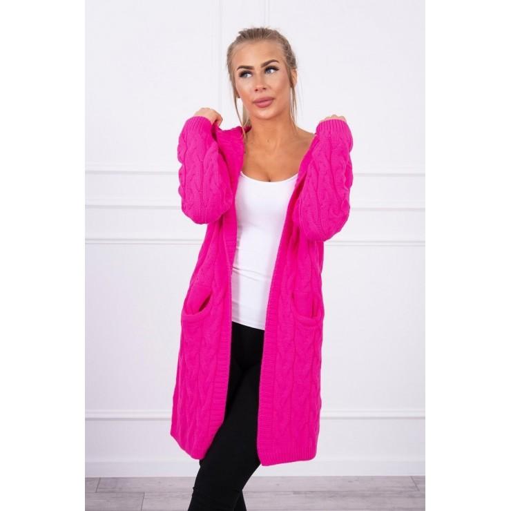 Dámsky sveter s kapucňou a vreckami MI2019-24 neónovo ružový