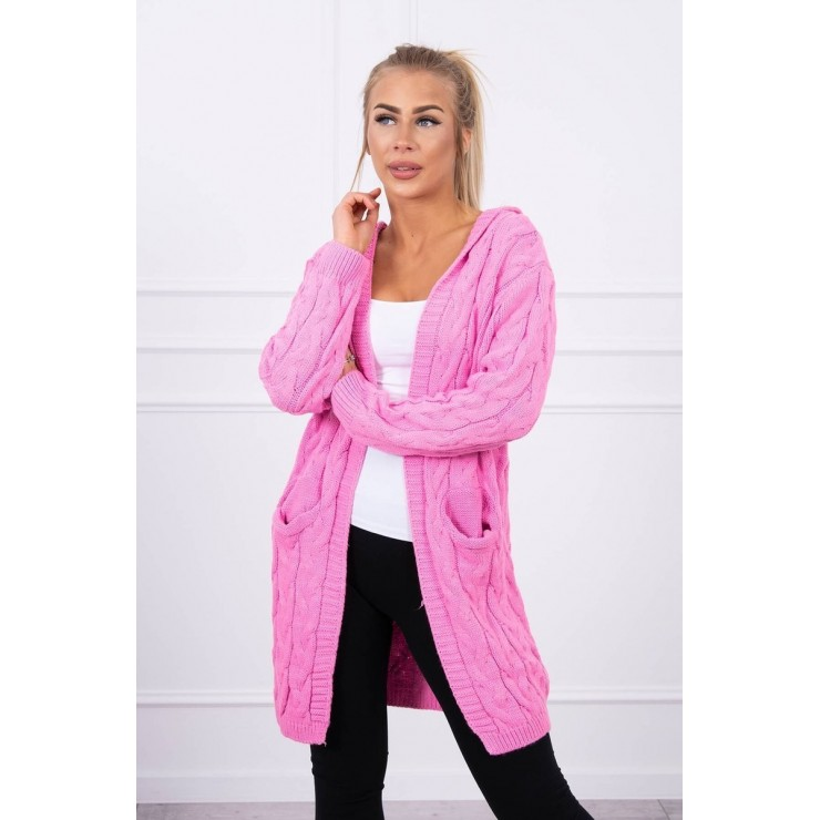 Women's sweater with hood and pockets MI2019-24 light pink