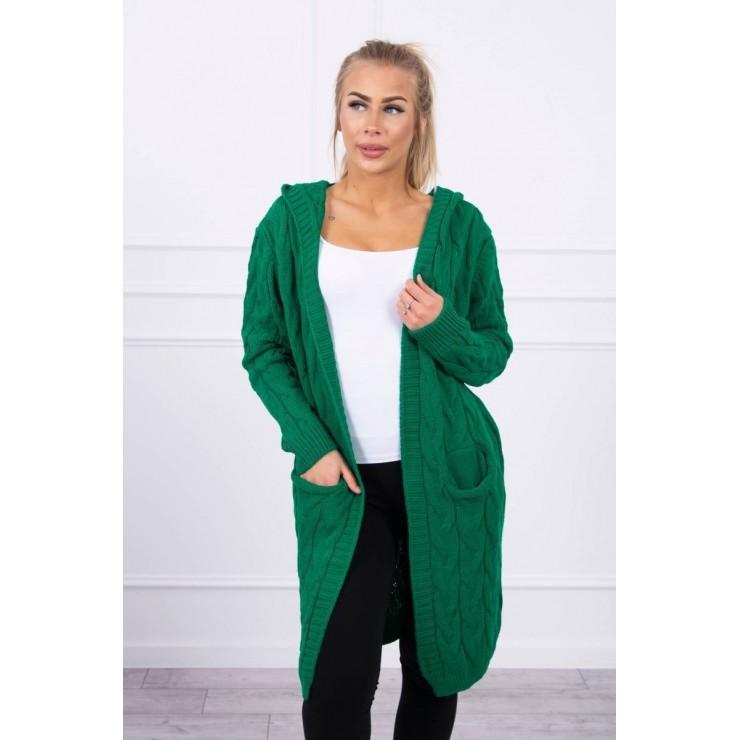 Dámský svetr s kapucí a kapsami MI2019-24 světle zelený
