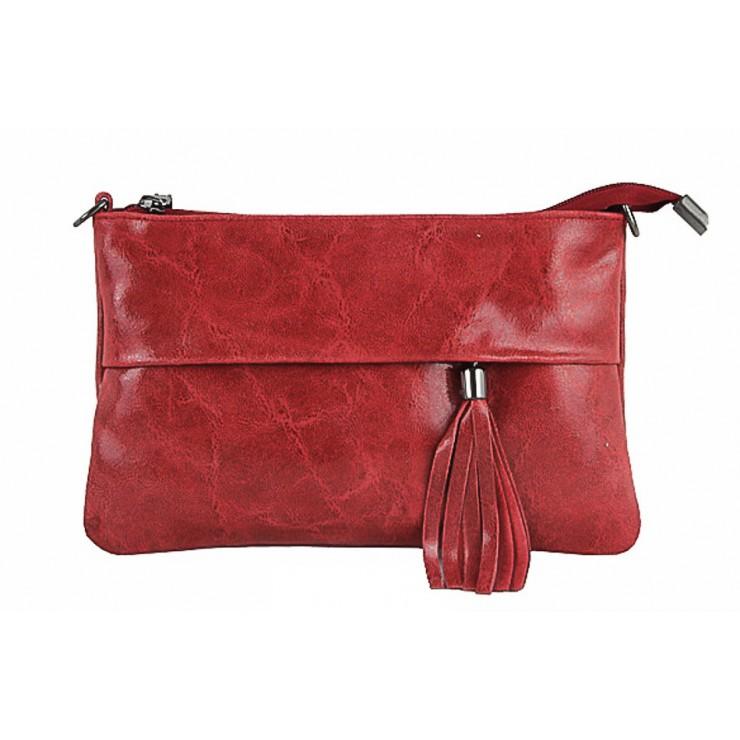 Kožená kabelka 1423A rudá
