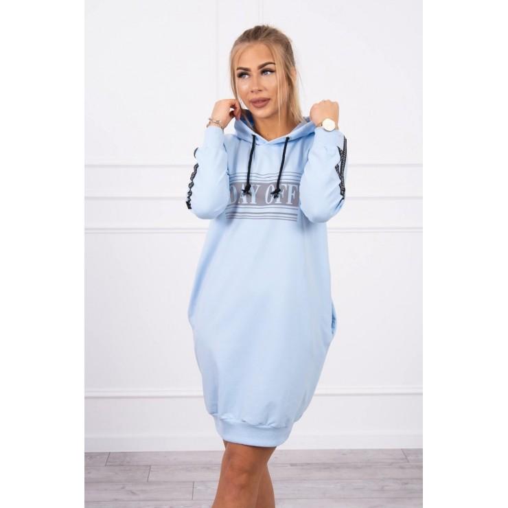 Dress with reflective print sky blue