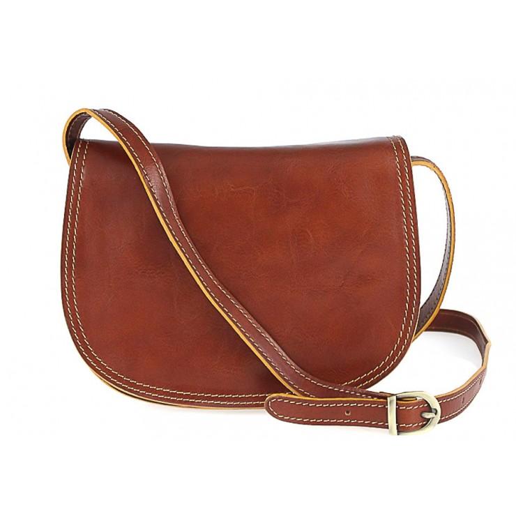 Kožená kabelka na rameno 675 koňaková