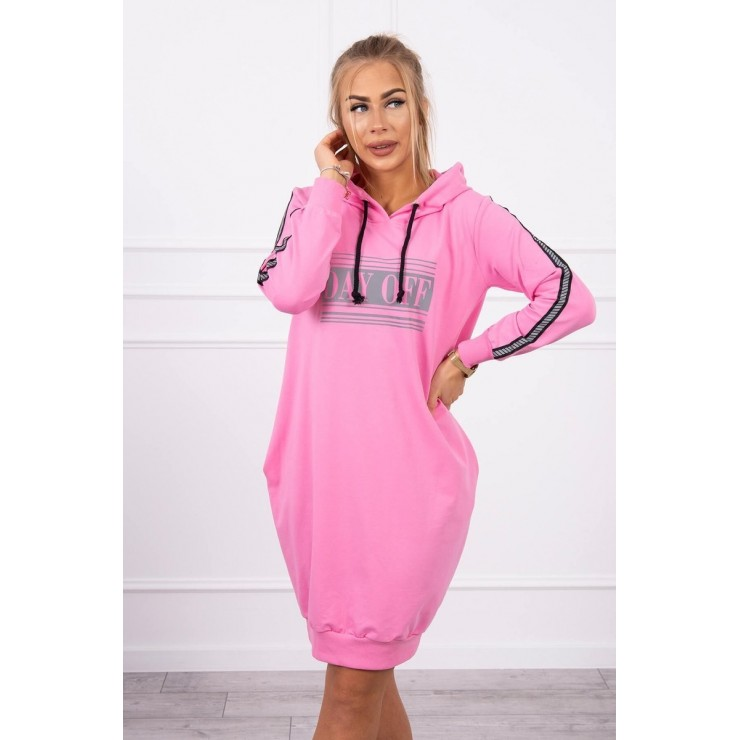 Dress with reflective print light pink