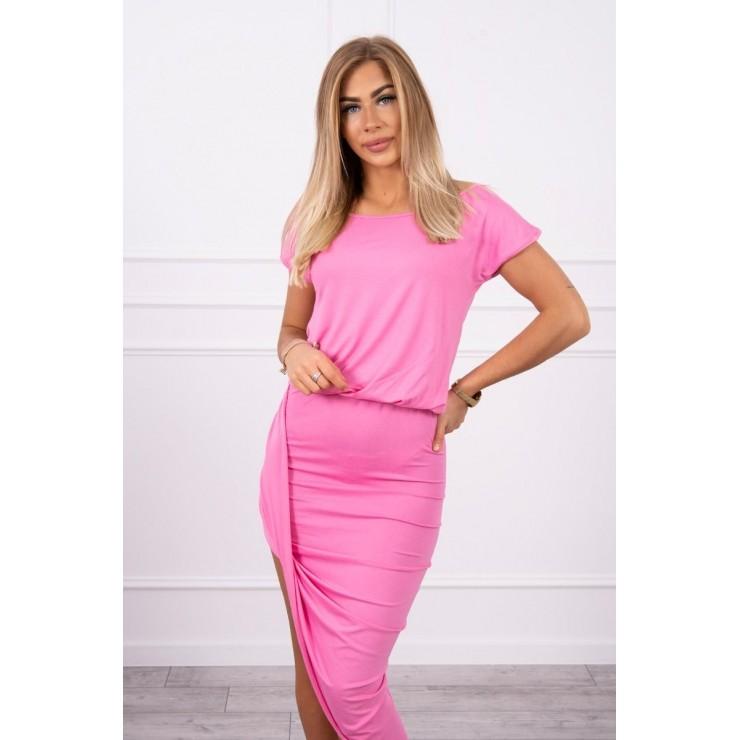 Dámske asymetrické šaty MI61524 ružové