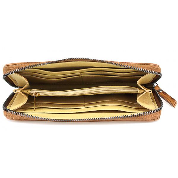 Kožená peňaženka na zips kroko štýl  820 koňak Koňak