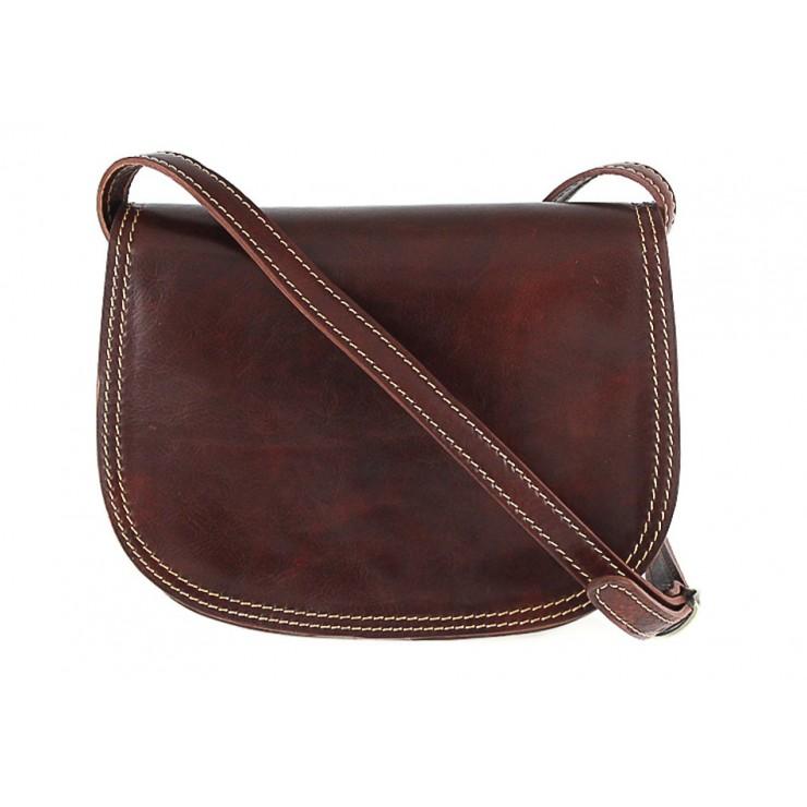 Kožená kabelka na rameno 675 hnedá