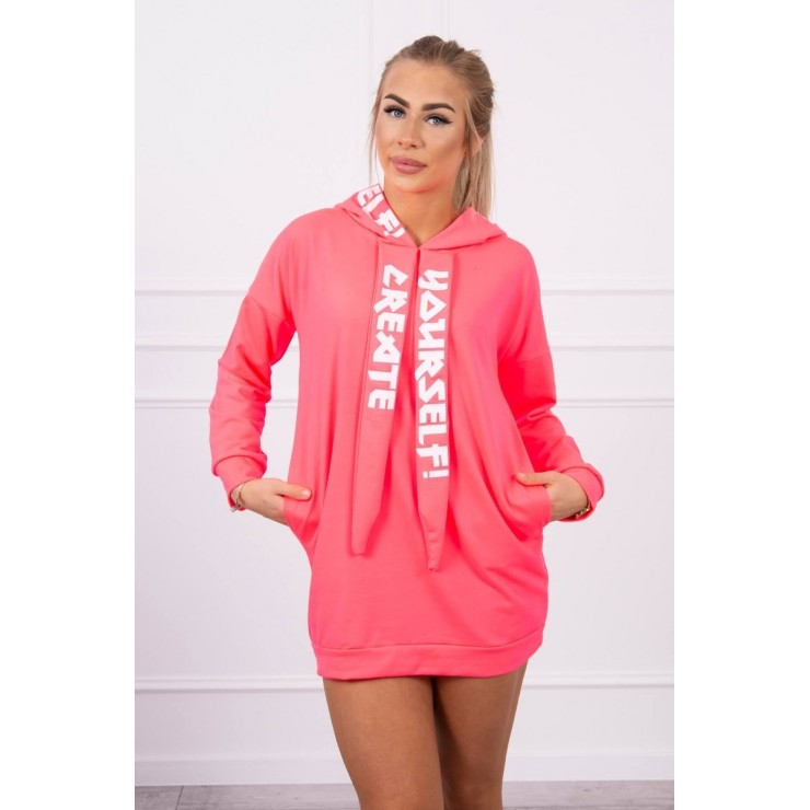 Šaty s kapucňou MI0042 neónovo ružové