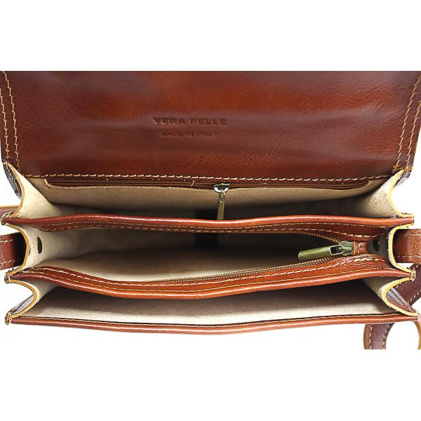 Kožená kabelka na rameno 675 hnedá Hnedá