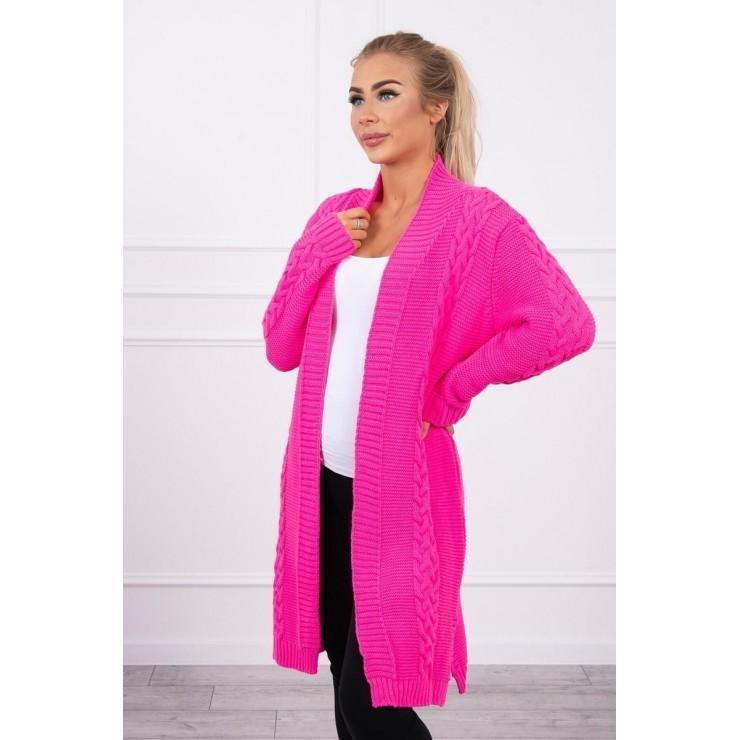Ladies long sweater with braids MI2019-1 pink neon