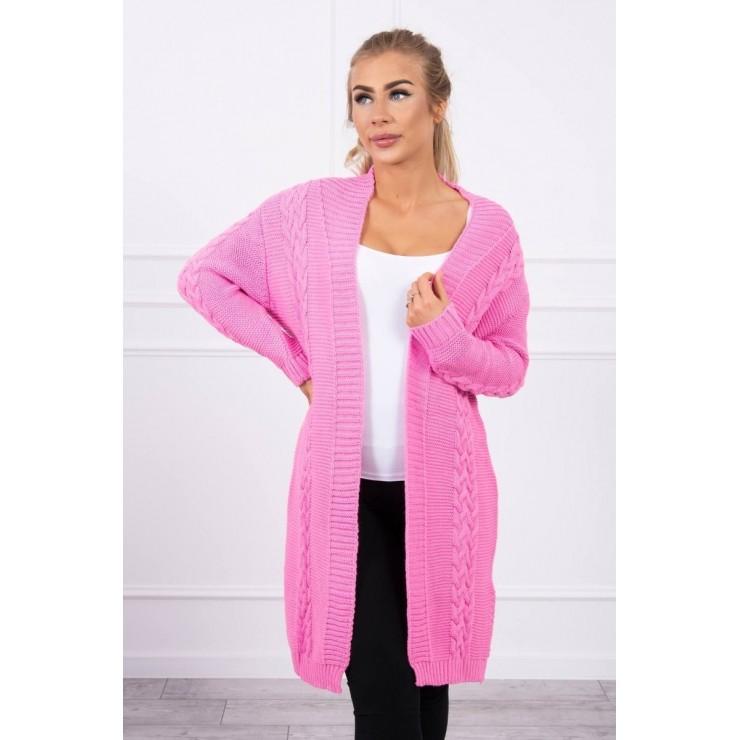 Ladies long sweater with braids MI2019-1 light pink