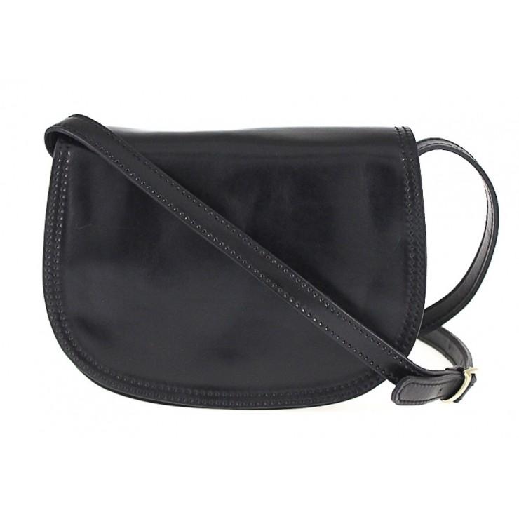 Kožená kabelka na rameno 675 čierna