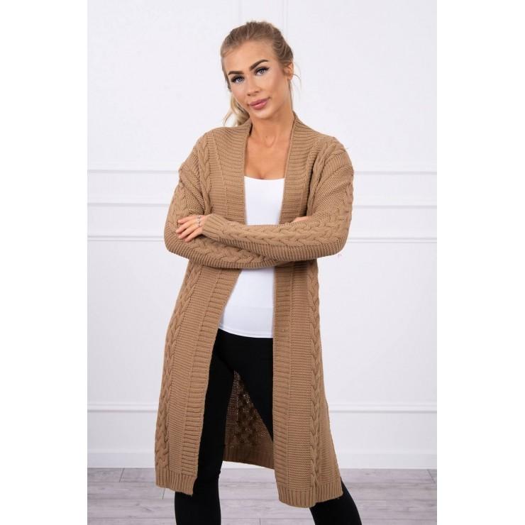 Ladies long sweater with braids MI2019-1 camel