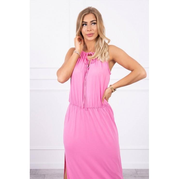 Dlouhé šaty s rozparkem MI8893 světle růžové
