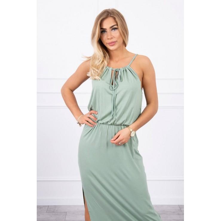 Long dress with slit MI8893 dark mint