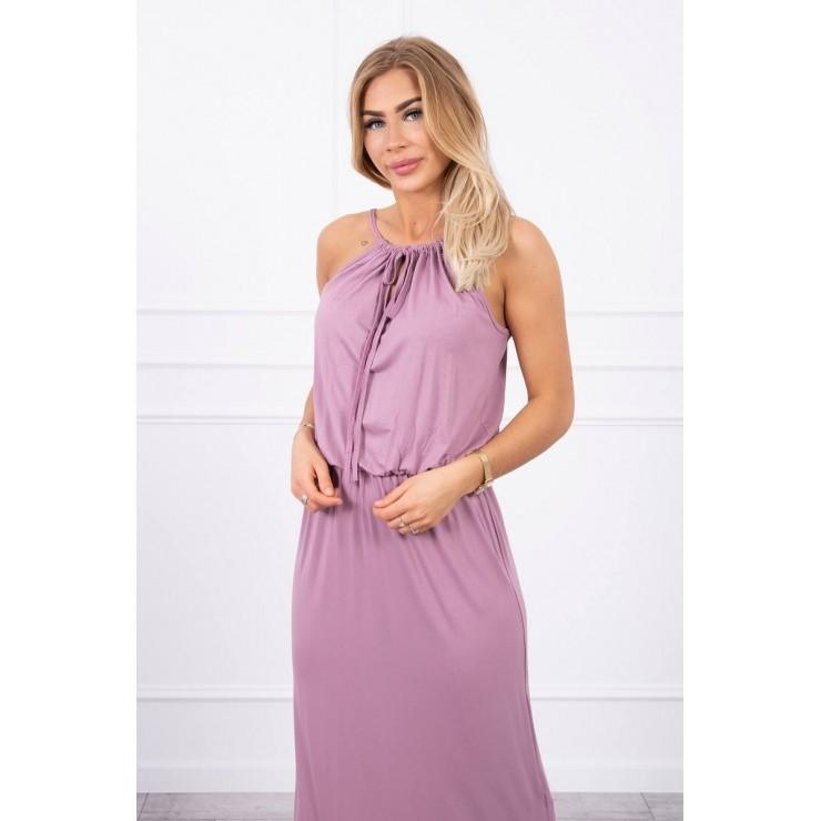 Dlouhé šaty s rozparkem MI8893 tmavě růžové