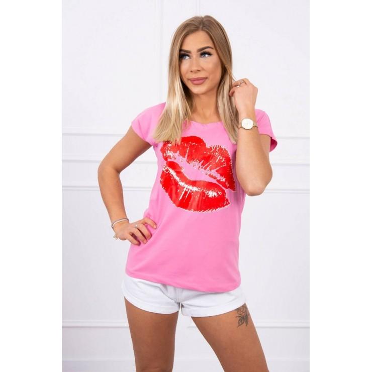 Dámske tričko s potlačou pier MI8985 ružové