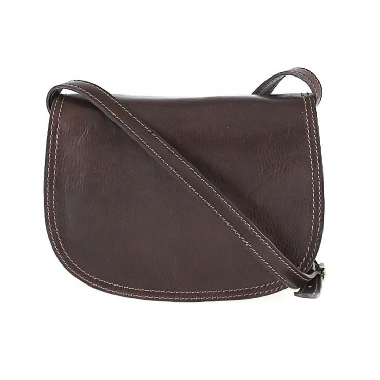 Kožená kabelka na rameno 675 tmavohnedá