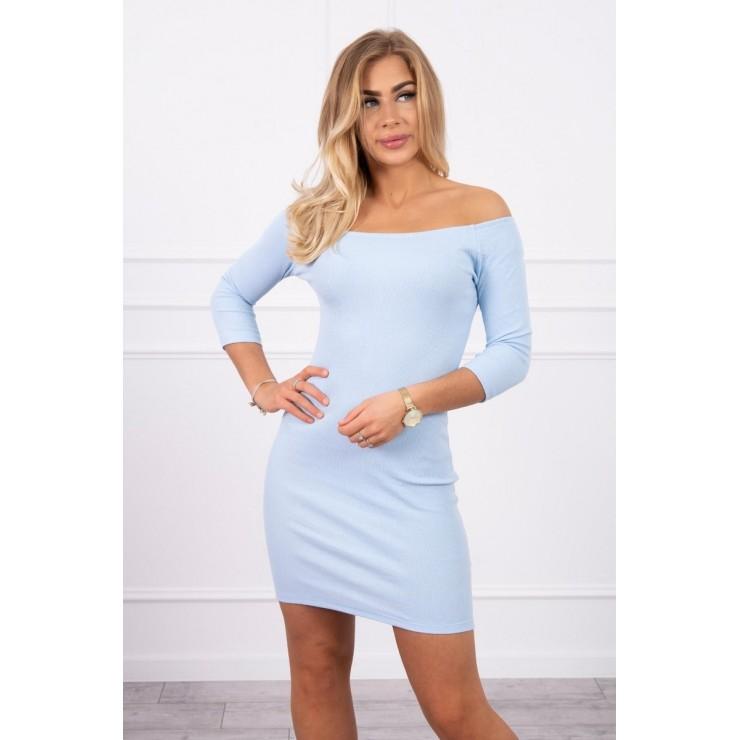 Vrúbkované šaty s výstrihom MI8974 nebesky modré