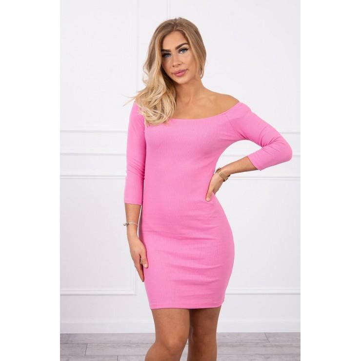 Vrúbkované šaty s výstrihom MI8974 svetloružové