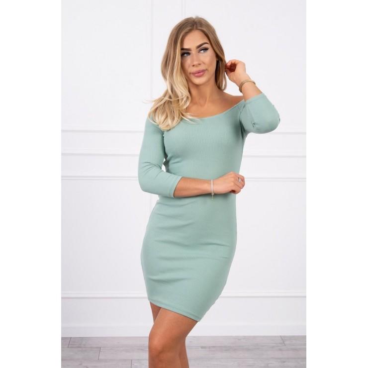 Notched dress with neckline MI8974 dark mint