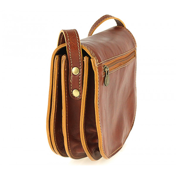 Kožená kabelka na rameno 675 tmavohnedá Hnedá
