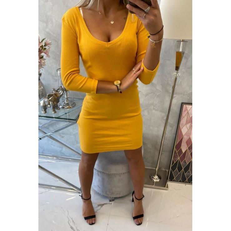 Dámske šaty s výstrihom MI8863 okrové