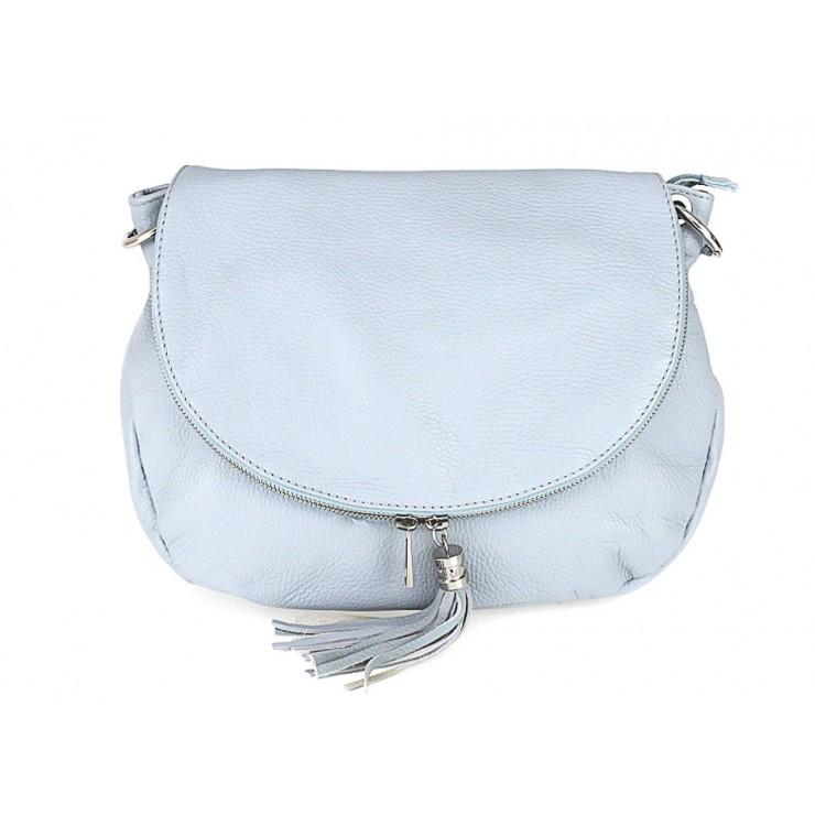 Kožená kabelka na rameno 411 nebesky modrá Made in Italy