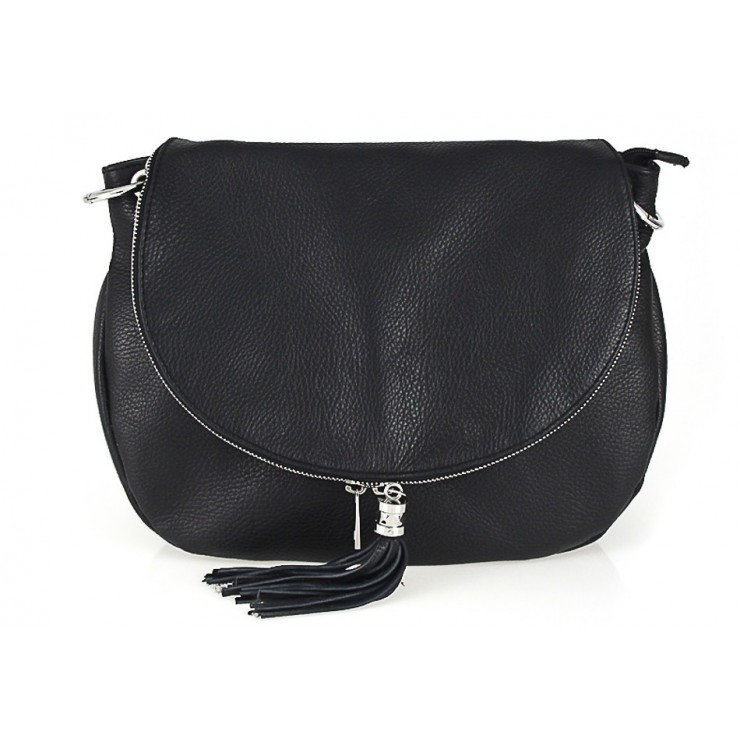 Genuine Leather Shoulder Bag 5349 black