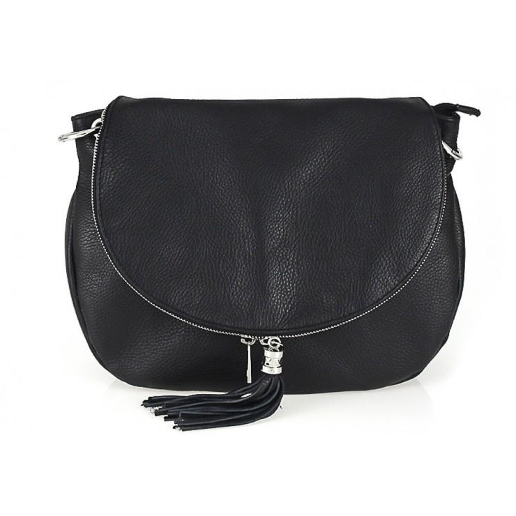 Kožená kabelka na rameno 411 černá Made in Italy